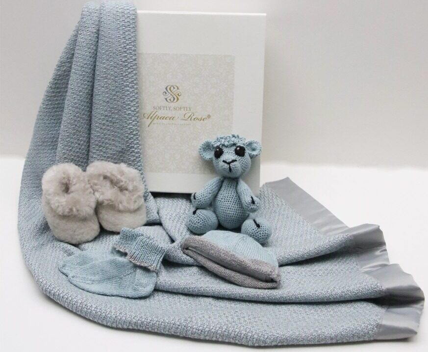 Luxury Alpaca Rose Baby Gift Box – Blue